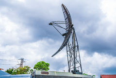 Closeup to Parabolic Military Mobile Communication Antenna Tower Royalty Free Stock Image