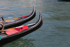 Closeup to Part of Gondolas Boats Royalty Free Stock Photos