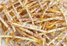 Closeup to Pile of Delicious Taro Colocasia Esculenta Sticks Background Stock Photo