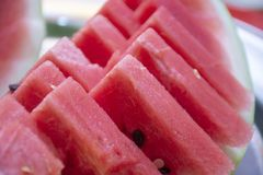 Closeup to ripe fresh watermelon with seeds stock image