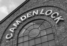 Closeup to a sign for Camden Lock in central London Stock Images