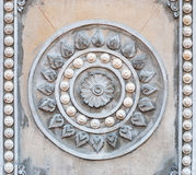 Closeup to Symbol of Buddhism, Rowel Stucco in Temple Stock Image