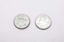 Closeup to Tennessee State Symbol on Quarter Dollar Coin on White Background Stock Photography