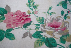 Closeup to Two Big Pink Roses Flower Vintage Fabric Royalty Free Stock Image
