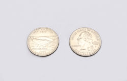 Closeup to West Virginia State Symbol on Quarter Dollar Coin on White Background Stock Images
