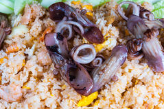 Closeup to Yummy Seafood Fried Rice in Thai Style Background.  Stock Images