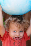 Closeup toddler with ball Royalty Free Stock Images