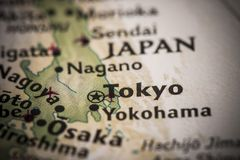 Tokyo on map Royalty Free Stock Photos