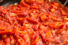 Closeup tomato sauce. In the pan Stock Images