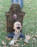 Closeup tombstone with monster coming out of the ground. Graveyard with monster head and arms coming out of the ground in front of a tombstone of dracula Stock Image