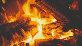 Free Closeup Toned Image Of Fire Flames Covering Burning Wooden Logs In The Fireplace At House Royalty Free Stock Images - 161172649