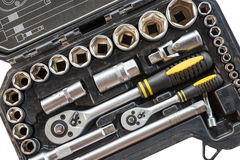 Closeup tool box kit set of wrenches and bits with layout isolated Stock Image