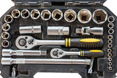 Closeup tool box kit set of wrenches and bits with layout isolated. On white background royalty free stock image