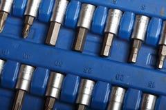 Closeup toolkit set tools in blue box Stock Photos