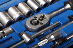 Closeup toolkit set tools in blue box Royalty Free Stock Photos