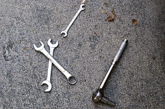 Closeup of Tools on Concrete Royalty Free Stock Images