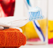 Closeup of a toothbrush Stock Photo