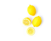 Closeup top view fresh lemon fruit and slice on white background Stock Photography