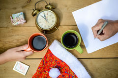 Closeup top view picture of holiday planning with Royalty Free Stock Photos