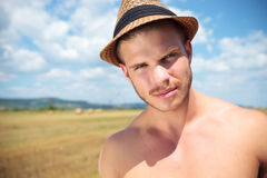 Closeup of topless man outdoor looking at you Royalty Free Stock Images