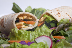 Closeup of a tortilla veggie wrap. Stock Photo