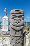 Closeup of totem pole at St Maurice memorial on Île des Pins Royalty Free Stock Image