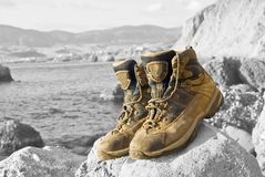 Closeup touristic boots Stock Photos