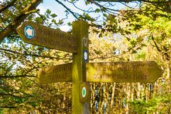 Closeup on touristic Sign posts in village of Ravenscar, UK stock image