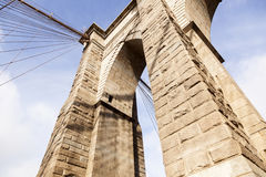 Closeup of tower and cables of brooklyn bridge in new york Royalty Free Stock Image