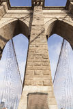Closeup of tower and cables of brooklyn bridge in new york Royalty Free Stock Images