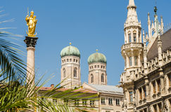 Closeup of the towers of Frauenkirche church in Munich, Germany.  Stock Photo