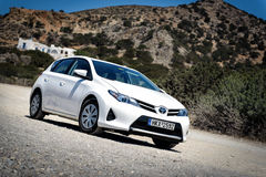 Closeup of Toyota Auris staying among mountains near Sitia town on Crete island, Greece Stock Image