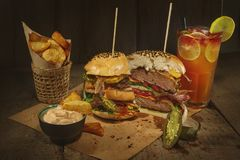 Traditional burgers with beef Royalty Free Stock Photography