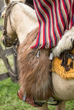 Closeup traditional chaps in Ecuador. Closeup traditional chaps and poncho cowboy wear in the Andes of Ecuador royalty free stock photography