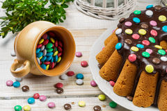 Closeup of traditional easter cake with candies Royalty Free Stock Photo