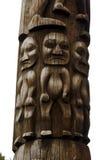 Closeup of traditional Gitxsan totem poles Royalty Free Stock Photo