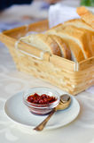 Closeup on traditional Hungarian hot red paprika sauce with bread Royalty Free Stock Photo