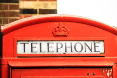 Closeup traditional red telephone box in UK Royalty Free Stock Images