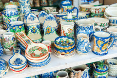 Closeup of traditional romanian colored handmade pottery Stock Images