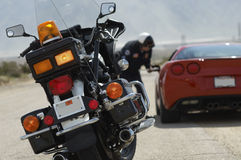 Closeup Of Traffic Cop's Motorcycle Royalty Free Stock Image