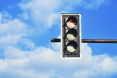 Closeup of traffic light. With blue sky Royalty Free Stock Photo