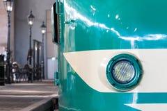 Closeup of a train headlight shining Stock Image