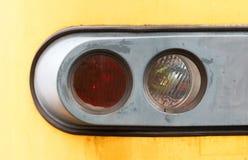 Closeup of a train headlight shining Stock Photo
