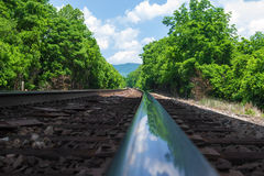 Closeup of Train Tracks Royalty Free Stock Images