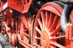 Closeup of train wheels -2. Closeup of red old train wheels stock image