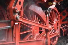 Closeup of train wheels -3. Closeup of red old train wheels royalty free stock image