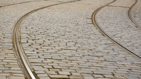 Closeup of tram rails in Prague Stock Photography