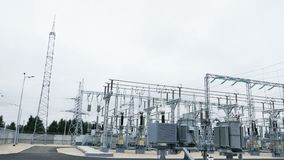 Substation consists of electrical energy converters. Closeup transforming substation consists of electrical energy converters transformers and control devices stock video footage
