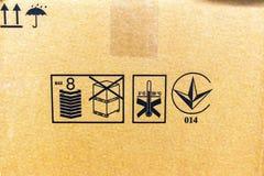 Closeup of transportation symbols on cardboard box royalty free stock photo