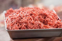 Closeup Of Tray Filled With Minced Meat Royalty Free Stock Photography